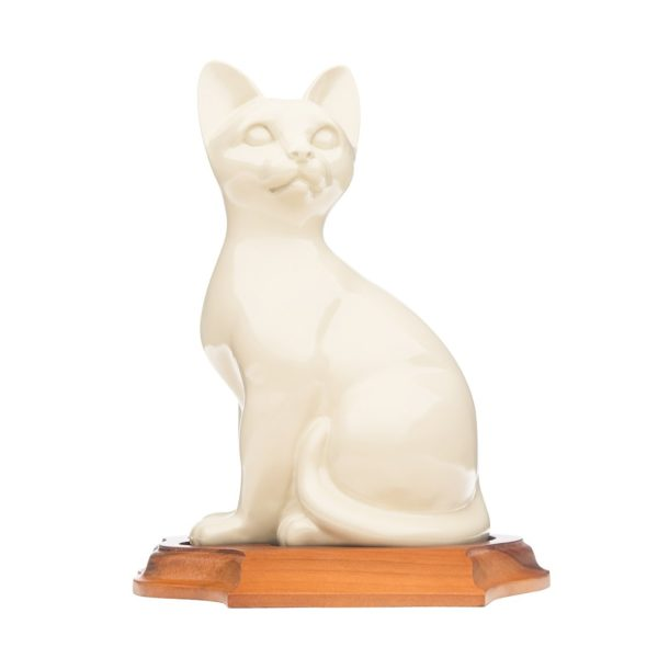 Neutral Sitting Cat Ceramic Urn